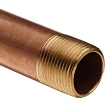 Red Brass Pipe Fitting, Nipple, Schedule 40 Seamless, NPT Male