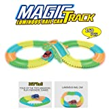 STOTOY Car Track Flexible Car Race Track Glow in The Dark with Light Up Flexible Track +1 Bridge +1 Light Up Race Car Vehicles Set Great Gift for Kids (Tamaño: 160p)