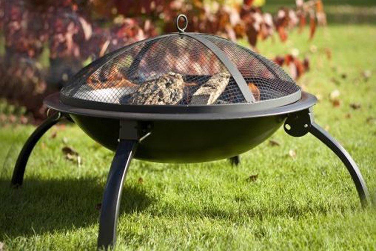 funkybuys® Faltlesebrille Fire Pit Garden BBQ Bowl Outdoor Camping Log anthrazit Terrassenstrahler günstig