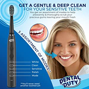 Sonic Electric Toothbrush- Electronic Black Toothbrush w/Replacement Brush Heads & Travel Case, 5 Modes, Dentist Recommended, Rechargeable w/Smart Timer, Best Ultra Whitening Toothbrushes For Adults. (Color: Black)