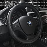 Steering Wheel Covers Universal 15 inch - Genuine Leather, Breathable, Anti Slip & Odor Free (Black with Black Lines)