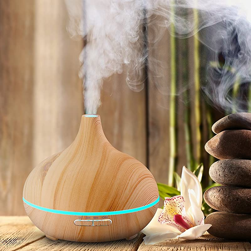 VicTsing 300ml Cool Mist Humidifier Ultrasonic Aroma Essential Oil Diffuser for Office Home Bedroom Living Room Study Yoga Spa - Wood Grain via Amazon