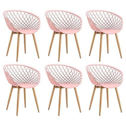 Tango Set 6Stuhle aus Metall mit Sitzfläche aus PP rosa 57x 63x H81cm