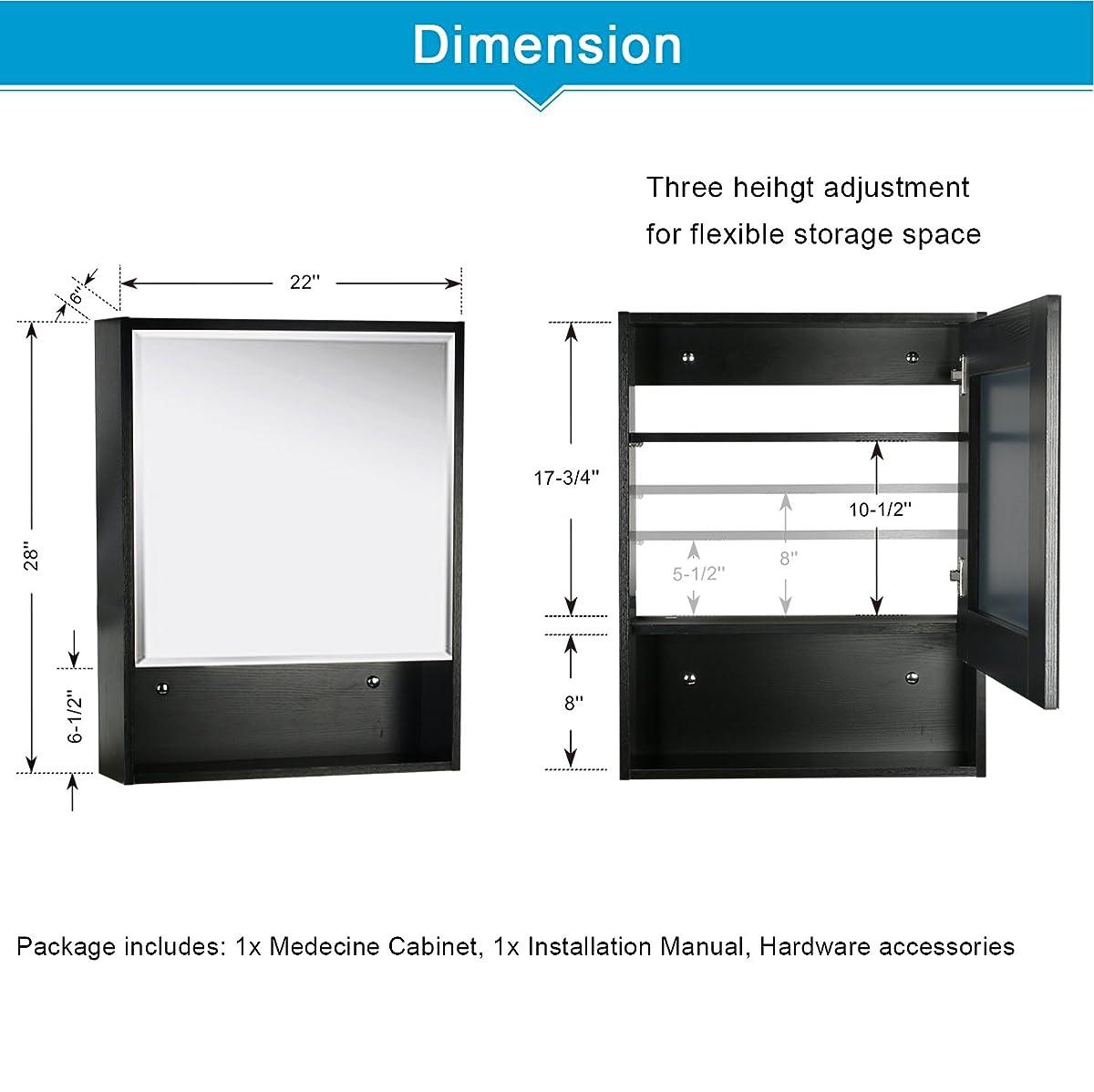 "Eclife 22"" x 28 Large Storage Bathroom Medicine Cabinet Organizer Mirror Storage Wood Adjustable Wall Mounted Mirror Cabinet Black C01"