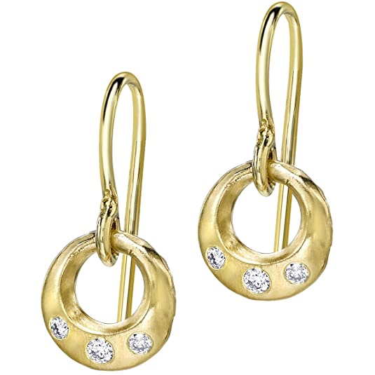 Dower & Hall Eternal 9ct Gold Diamond Open Circle Drop Earrings
