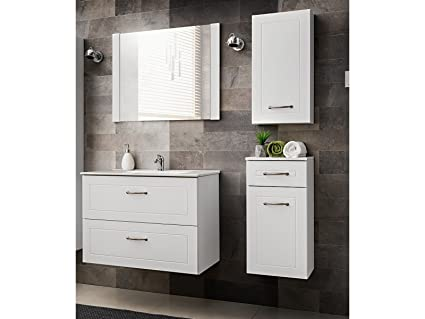 SET MOBILI DA BAGNO SOFIA BIANCO CON LAVANDINO - bianco, Spiegel,Waschtisch & zwei kleine Schraenke 80 cm
