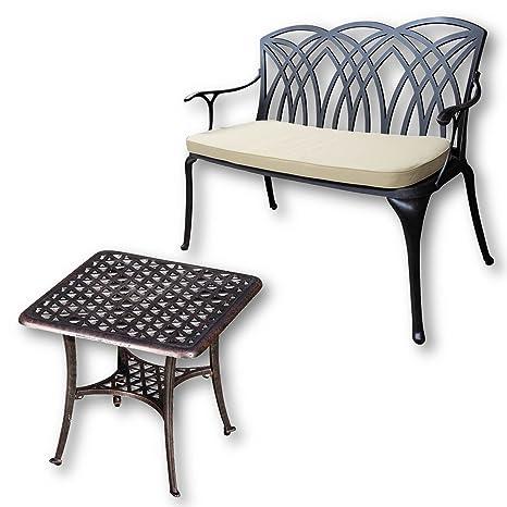 Lazy Susan - Table basse de jardin carrée SANDRA et banc APRIL - Meubles en aluminium moulé, coloris Bronze Ancien (coussin beige)