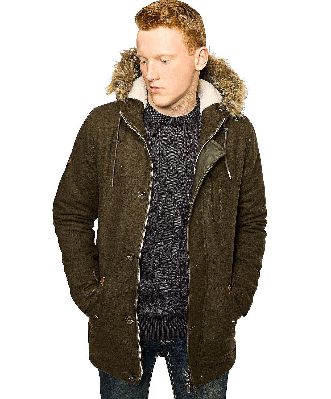 Bellfield Herren Wolle Parka | Designer Mantel mit Pelzkapuze Winter Jacke | Größe S-XL online bestellen