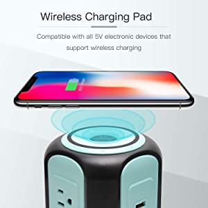 SUPERDANNY 10ft Power Strip Tower Wireless Charger Surge Protector Extension Cord 10A 9-Outlet 4 USB 4.5A Fast Speed Charging Electrical Station Universal Socket for Laptop Phone Black and Blue (Color: Black+Blue)