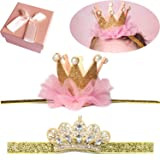 Elesa Miracle Baby Hair Accessories Baby Girl's Gift Box with Shiny Tiara Crown Headband Set (2pc- Gold) (Color: 2pc- Gold, Tamaño: One Size)