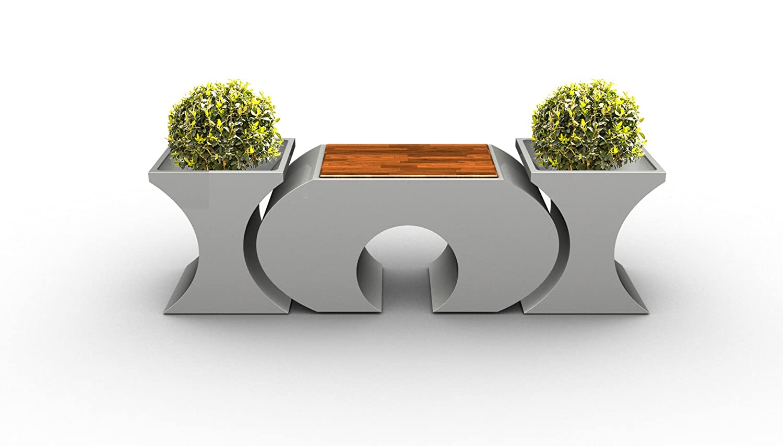 ORIGINAL LAGRINO Sitzgarnitur in HOCGLANZ WEISS - 1 HOCKER + 2 VASEN WITTERUNGSBESTÄNDIG - KRATZ- und STOßFEST (1 Hocker + 2 Vasen)