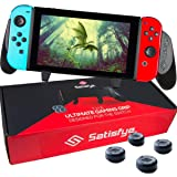Satisfye - Ultimate Nintendo Switch Accessories - Comfortable & Ergonomic Switch Grip, Joy Con & Switch Control - #1 Switch Accessories Designed for Gamers. FREE BONUS: 4 Thumbsticks (Color: Black)