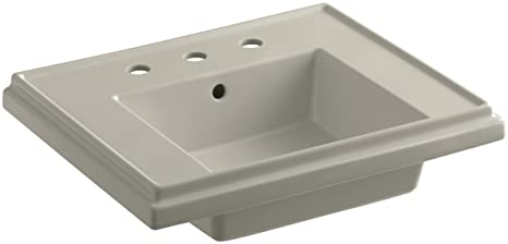 KOHLER K-2757-8-G9 Tresham 24-Inch Pedestal Bathroom Sink Basin with 8-Inch Widespread Faucet Drilling, Sandbar