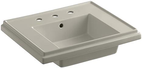 KOHLER K-2757-8-G9 Tresham 24-Inch Pedestal Bathroom Sink Basin with 8-Inch Widespread Faucet Drilling, Sandbar