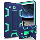 Samsung Galaxy Tab E 9.6 Case,XIQI Three Layer Hybrid Rugged Heavy duty Shockproof Anti-Slip Case Full Body Protection Cover for Tab E Nook 9.6,Navy Blue/Lemony Green (Color: Navy Blue Green)