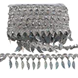 MELADY Pack of 10yards Sequins Leaves Hanging Tassel Lace Dance Clothing Accessories Fringe Trim (Silver) (Color: silver)