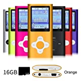 G.G.Martinsen Orange Versatile MP3/MP4 Player with a 16GB Micro SD card, Support Photo Viewer, Radio and Voice Recorder, Mini USB Port 1.8 LCD, Digital MP3 Player,MP4 Player, Video/Media/Music Player (Color: Orange-3)