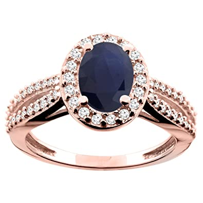 14ct Rose Gold Natural Australian Sapphire Ring Oval 8x6mm Diamond Accent 7/16 inch wide, size M