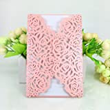 WOMHOPE® 50 Pcs - Large Rose Hollow Laser Cut Wedding Invitation Lace Shimmer Party Invitations Cards Birthday Invitations Cards Wedding Favors (Pink (White inner sheet)) (Color: Pink)