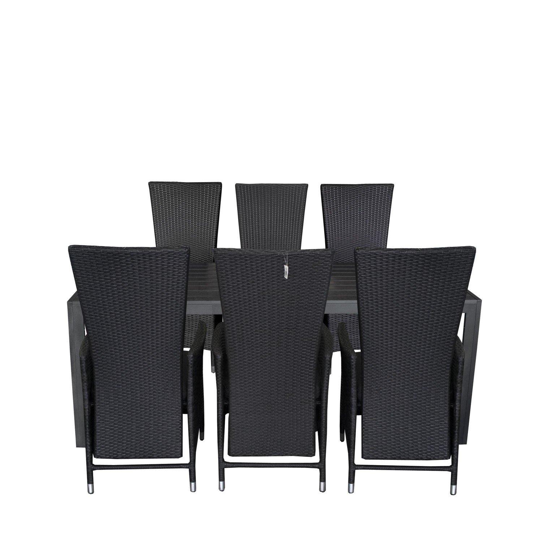 7tlg. Gartengarnitur Gartentisch 205x90cm Polywood Tischplatte Schwarz Aluminium Poly Rattansessel Rückenlehne stufenlos verstellbar inklusive Sitzpolster Sitzgruppe Terrassenmöbel Sitzgarnitur