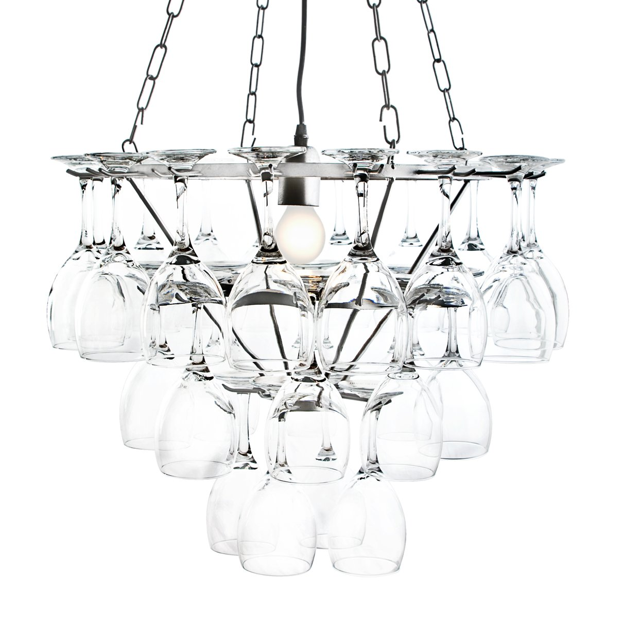 3 Tier Wine Glass Chandelier   Silver       review