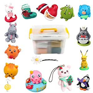 Polymer Clay, POZEAN Modeling Clay Kit 50 Colors DIY Oven Bake Clay with Sculpting Tools, Accessories and Portable Storage Box, Perfect Gift for Kids/Adults/Beginners (Color: 50 colors polymer clay)