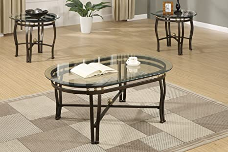 3pcs Coffee Table Set/ Cocktail Table w/ Clear Glass Beveled Oval Shaped Tape Tops & Dark Bronze Finished Metal Base & Legs + 2 End Tables Set