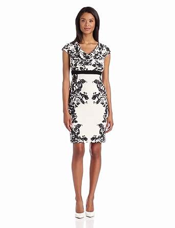 Evan Picone Women's Mirrored Leaves Cowl Neck Dress, Black Combo, 4