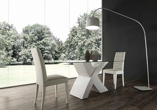Raul Tavolo fisso design 160x90 Cristallo e basamento legno - Bianco Frassinato