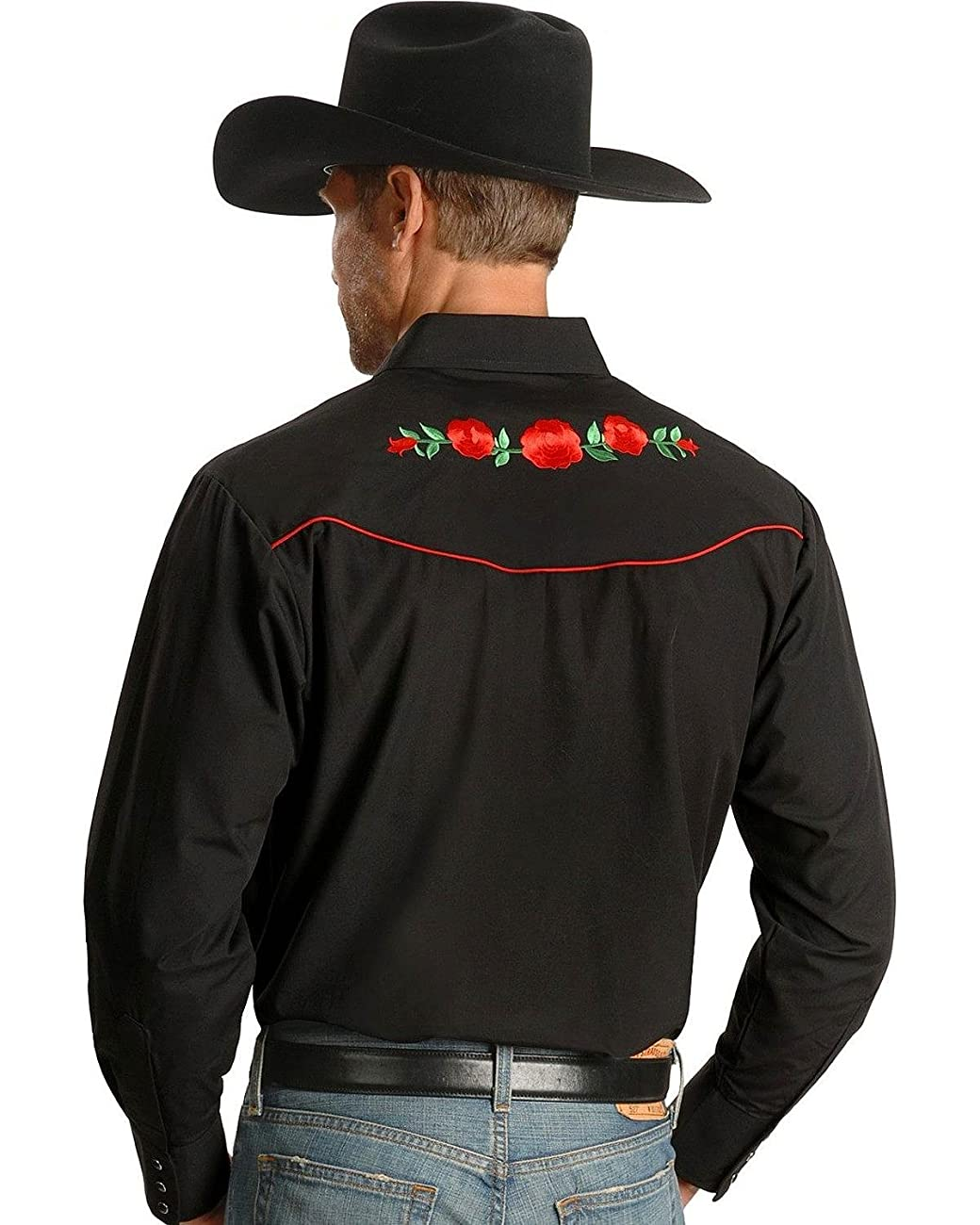 Ely Cattleman Men's Embroidered Rose Design Western Shirt - 15203901-88Blk 2