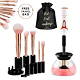 Makeup Brush Cleaner Machine, Electric Spinning Make up Brush Cleaner and Dryer, Professional Brush Cleaner Kit, Automatic Portable Brush Cleaner Device, Cosmetic Brush Cleaner Tool, Creatique (Color: White)