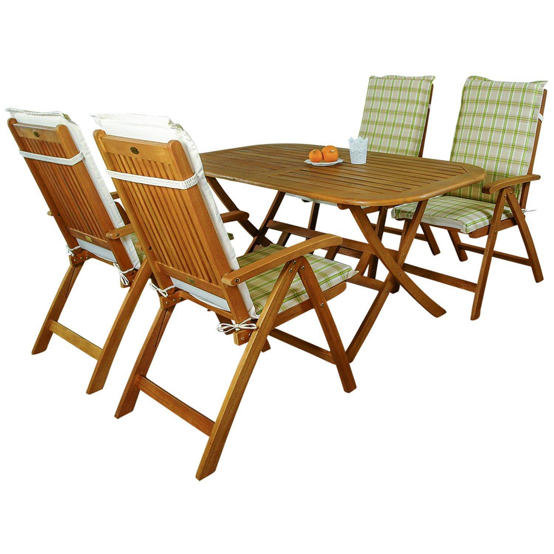 indoba® IND-70063-BASE5 + IND-70412-AUHL - Serie Bangor - Gartenmöbel Set 9-teilig aus Holz FSC zertifiziert - 4 klappbare Gartenstühle + klappbarer Gartentisch + 4 Comfort Auflagen Karo Grün