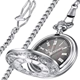 LYMFHCH Classic Smooth Vintage Gold Quartz Pocket Watch, Roman Numerals Scale Mens Womens Watch with Chain (Silver/Black)