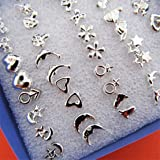 UNKE 24Pairs/18Pairs Bulk Chic Tiny Mixed Style Earrings Stud Earrings Pierced ,24Pairs