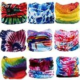 KALILY 9PCS Headband Bandana - Versatile TIE DYE Sports & Casual Headwear –Multifunctional Neck Gaiter, Headwrap, Balaclava, Helmet Liner, Face Mask for Camping, Running, Cycling, Fishing etc (Color: Tie Dye 9pcs, Tamaño: Medium)