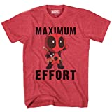 Marvel Deadpool Chibi Maxiumum Effort Men's T-Shirt (XXXL, Heather Red) (Color: Heather Red, Tamaño: 3X-Large)
