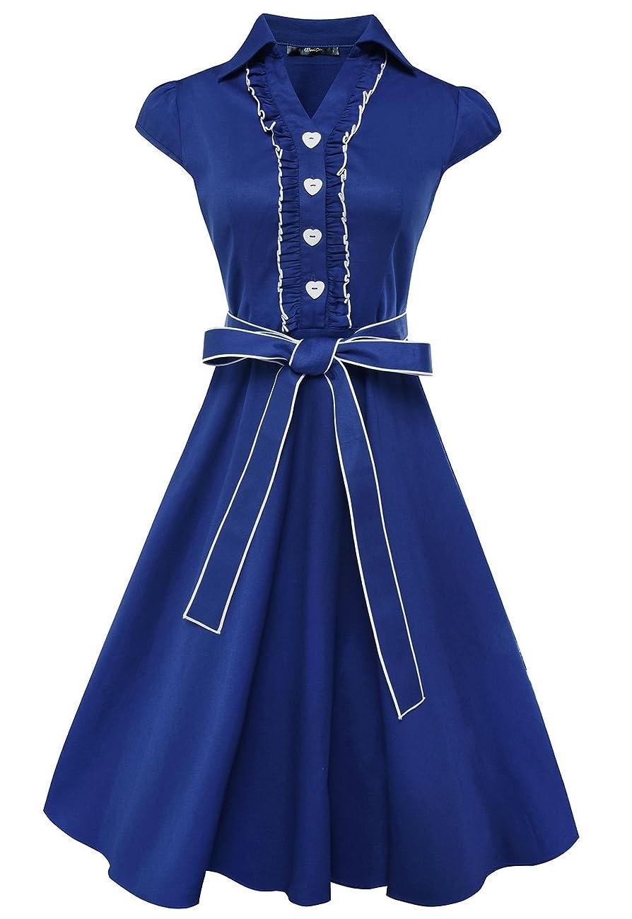 Anni Coco® Women's 1950s Cap Sleeve Swing Vintage Party Dresses Multi Coloredblue 0
