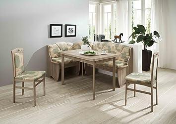 Dreams4Home Eckbankgruppe 'Lefo' Essgruppe 170 x 130 x 89 cm Tisch 2 Stuhle modern Sonoma Eiche grun beige Eckbank Kuchentisch 4-teilig Landhaus Kuche