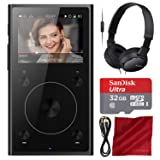FiiO X1 (2nd Generation) Lossless Music Player (Black) - Deluxe Accessory Bundle with Sony Headphones + Memory Card & More (Color: Black, Tamaño: Deluxe)