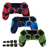 Skin Compatible for PS4 Controller Grips Cover Pandaren Studded Anti-Slip Silicone Sleeve for PS4 /Slim/PRO Controller(Controller Skin x 3 + FPS PRO Thumb Grips x 8)(CamouRed,CamouBlue,CamouGreen) (Color: Camouflage(Blue,Red,Green), Tamaño: PS4)