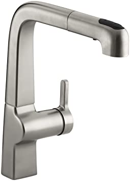 KOHLER K-6331-VS Evoke Single Control Pullout Kitchen Faucet, Vibrant Stainless