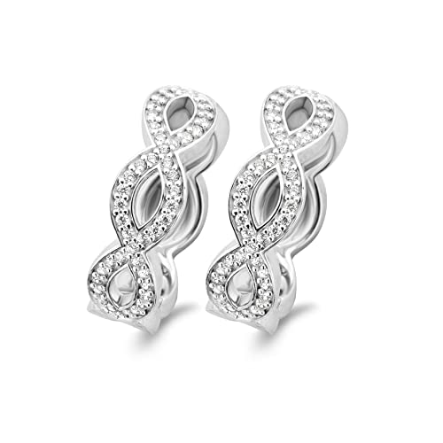 TI SENTO Milano White Cubic Zirconia Rhodium Plated Sterling Silver Earrings - 7687ZI