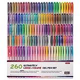 Shuttle Art 260 Colors Gel Pens Set 220% Ink Gel Pen for Adult Coloring Books Art Markers 130 Colored Gel Pens plus 130 Refills