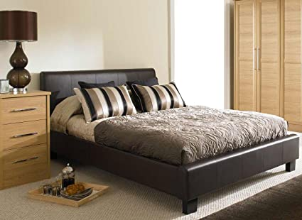 NEW 5ft BROWN MODERN FAUX KINGSIZE LEATHER BED FRAME AND 1200 COUNT POCKET SPRUNG MATTRESS