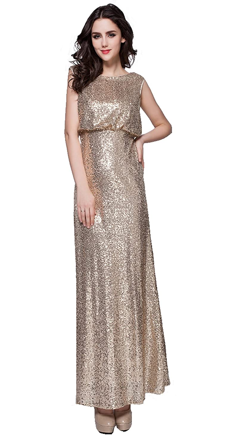 ARTEMISES Womens Sequin Sleeveless Celebrity Maxi Party Cocktail Dress