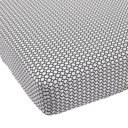 Balboa Baby Cotton Sateen Fitted Crib Sheet - White and Black Diamond - 1