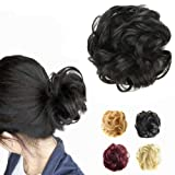 FESHFEN Synthetic Hair Bun Extensions Messy Hair Scrunchies Hair Pieces for Women Hair Donut Updo Ponytail (Color: A04- 4# Darkest Brown Tend to Black, Tamaño: Normal)