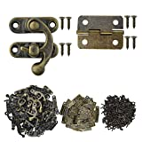 Marrywindix 80pcs Small Box Hinges, 40 Sets Antique Right Latch Hook Hasp Wood Jewelry Box Hasp Catch Decoration with 480 Pieces Replacement Screws - Bronze Tone