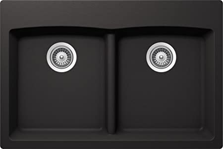 SCHOCK EDON200T013 EDO Series CRISTALITE 50/50 Topmount Double Bowl Kitchen Sink, Nero