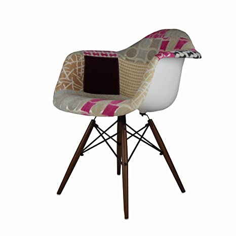 Mid Century Modern Eames Style DAW Pink Multi Color Patchwork Upholstered Armchair (Walnut Legs)